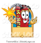 Vector Logo of a Lit Stick of Dynamite Mascot Cartoon Character with a Tan Label by Toons4Biz