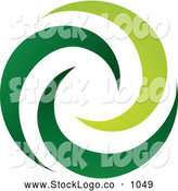 Vector Logo of a Logo of Green Spiraling Swooshes on White by TA Images