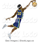 Vector Logo of a Male Black Basketball Athlete Jumping with the Ball in Hand by AtStockIllustration