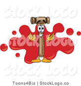 Vector Logo of a Mallet Mascot Cartoon Character with a Red Paint Splatter Background by Toons4Biz