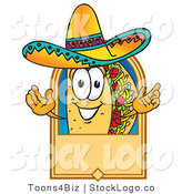 Vector Logo of a Mexican Taco Mascot Cartoon Character on a Blank Tan Label, Logo or Sign by Toons4Biz
