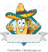 Vector Logo of a Mexican Taco Mascot Cartoon Character over a Blank White Banner on a Label by Toons4Biz