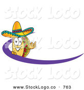 Vector Logo of a Mexican Taco Mascot Cartoon Character Waving and Standing Behind a Purple DashMexican Taco Mascot Cartoon Character Waving and Standing Behind a Purple Dash by Toons4Biz