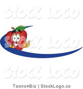 Vector Logo of a Nutritious Red Apple Character Mascot Logo Name Tag with a Blue Dash by Toons4Biz