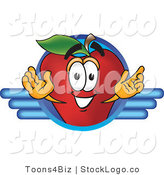 Vector Logo of a Nutritious Red Apple Character Mascot Logo with Blue Wing Design by Toons4Biz