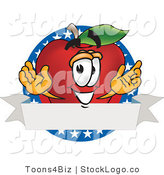 Vector Logo of a Nutritious Red Apple Character Mascot Logo with Stars by Toons4Biz