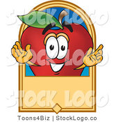 Vector Logo of a Nutritious Red Apple Character Mascot with a Blank Label by Toons4Biz