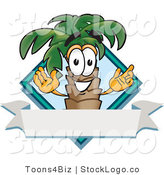 Vector Logo of a Palm Tree Mascot Cartoon Character over a Blank Banner on a Travel Business Label Logo with a Blue Diamond by Toons4Biz
