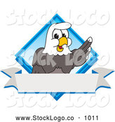 Vector Logo of a Patriotic Bald Eagle Character Diamond and Banner Logo by Toons4Biz