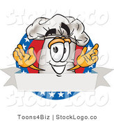 Vector Logo of a Patriotic Chefs Hat Mascot Cartoon Character over a Blank Banner Label with Stars by Toons4Biz