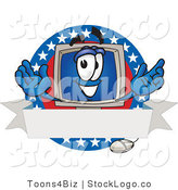 Vector Logo of a Patriotic Desktop Computer Mascot Cartoon Character on a Blank Label with an American Theme by Toons4Biz