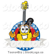 Vector Logo of a Patriotic Guitar Mascot Cartoon Character Logo with Stars and a Blank Label by Toons4Biz