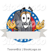 Vector Logo of a Patriotic Rubber Tire Mascot Cartoon Character with Stars and a Blank Label by Toons4Biz