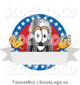 Vector Logo of a Patriotic Smiling Pepper Shaker Mascot Cartoon Character with Stars and Blank Label by Toons4Biz