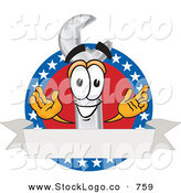 Vector Logo of a Patriotic Smiling Wrench Mascot Cartoon Character with an American ThemePatriotic Smiling Wrench Mascot Cartoon Character with an American Theme by Toons4Biz