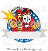 Vector Logo of a Patriotic Stick of Dynamite Mascot Cartoon Character with Stars and a Blank Ribbon Label by Toons4Biz