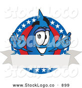 Vector Logo of a Patriotic Water Drop Mascot Cartoon Character on an American Themed Logo by Toons4Biz