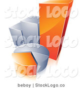 Vector Logo of a Pre-Made Chart Logo of an Orange and Silver Pie Chart and Bar Graph with Space for a Business Name and Company Slogan by Beboy