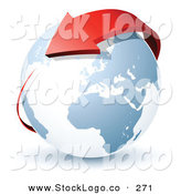 Vector Logo of a Pre-Made Global Logo of a Red Arrow Circling Planet Earth to the Left of a Space for a Business Name and Company Slogan by Beboy