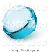 Vector Logo of a Pre-Made Global Logo of Blue Arrow Circling a Glass Sphere, with Space for a Business Name and Company Slogan by Beboy
