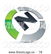 Vector Logo of a Pre-Made Green and Silver N Logo by Beboy