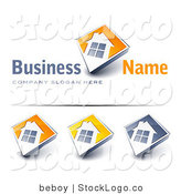 Vector Logo of a Pre-Made Home Ownership Logo of a Large Window on a Home with an Orange Background and Space for a Business Name and Company Slogan by Beboy