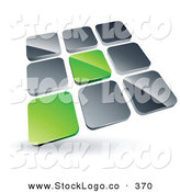 Vector Logo of a Pre-Made Logo of 2 Green Tiles Standing out from Rows of Silver Tiles by Beboy