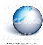 Vector Logo of a Pre-Made Logo of a Blue and Chrome Orb Above Space for a Business Name and Slogan, on a White Background by Beboy