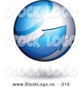 Vector Logo of a Pre-Made Logo of a Blue Arrow Circling Around an Orb Above Space for a Business Name and Slogan, on a White Background by Beboy