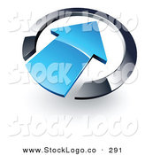 Vector Logo of a Pre-Made Logo of a Blue Arrow Pointing into a Blue 3d Circle, on White by Beboy