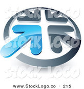 Vector Logo of a Pre-Made Logo of a Blue Arrow Standing out in a Circle of Silver Arrows, Above Space for a Business Name and Company Slogan by Beboy