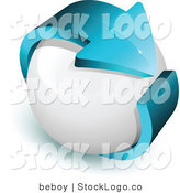 Vector Logo of a Pre-Made Logo of a Blue Arrow Wrapping Around a White Sphere, with Space for a Business Name and Company Slogan by Beboy