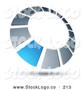 Vector Logo of a Pre-Made Logo of a Blue Square in a Silver Dial, Above Space for a Business Name and Company Slogan by Beboy