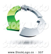 Vector Logo of a Pre-Made Logo of a Circle of a Single Green Arrow and Two Chrome Arrow by Beboy