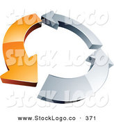 Vector Logo of a Pre-Made Logo of a Circle of a Single Orange Arrow and Two Chrome Arrow by Beboy