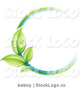 Vector Logo of a Pre-Made Logo of a Circle of Colors and Dewy Leaves Beside a Space for a Business Name and Company Slogan by Beboy