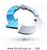 Vector Logo of a Pre-Made Logo of a Circle of One Blue Arrow and Two Chrome Arrow on White by Beboy