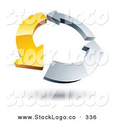Vector Logo of a Pre-Made Logo of a Circle of One Yellow Arrow and Two Silver Arrow by Beboy