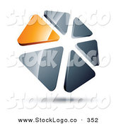 Vector Logo of a Pre-Made Logo of a Circle of Orange and Silver Triangles on White by Beboy