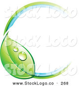 Vector Logo of a Pre-Made Logo of a Circle with a Dewy Green Leaf, with Empty Space for a Business Name and Company Slogan to the Right by Beboy