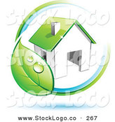 Vector Logo of a Pre-Made Logo of a Circling Dewy Green Leaf Around a House, with Space for a Business Name and Company Slogan Below by Beboy