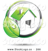 Vector Logo of a Pre-Made Logo of a Circling Dewy Green Leaf Around a House, with Space for a Business Name and Company Slogan to the Right by Beboy