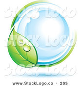 Vector Logo of a Pre-Made Logo of a Dewy Green Leaf Circling a Blue Globe, with Space for a Business Name and Company Slogan Below by Beboy