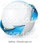 Vector Logo of a Pre-Made Logo of a Double Sided Blue Arrow Circling a White 3D Orb, with Space for a Business Name and Company Slogan by Beboy