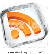 Vector Logo of a Pre-Made Logo of a Glass Square with an Orange RSS Symbol over Space for a Business Name and Company Slogan on White by Beboy