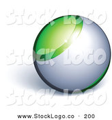 Vector Logo of a Pre-Made Logo of a Green and Chrome Orb Above Space for a Business Name and Slogan, on a White Background by Beboy