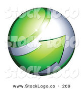 Vector Logo of a Pre-Made Logo of a Green Arrow Circling an Orb on White by Beboy