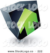 Vector Logo of a Pre-Made Logo of a Green Arrow on a Tilted Black Cube, Above White Space for a Business Name and Company Slogan by Beboy