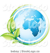 Vector Logo of a Pre-Made Logo of a Green Vine Circling the Earth to the Left of a Space for a Business Name and Company Slogan by Beboy