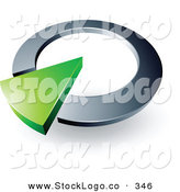 Vector Logo of a Pre-Made Logo of a Green Wedge in a Silver Circular Dial, Above Space for a Business Name and Company Slogan by Beboy